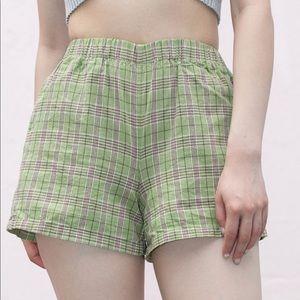 Brandy Melville green plaid Logan shorts NWT